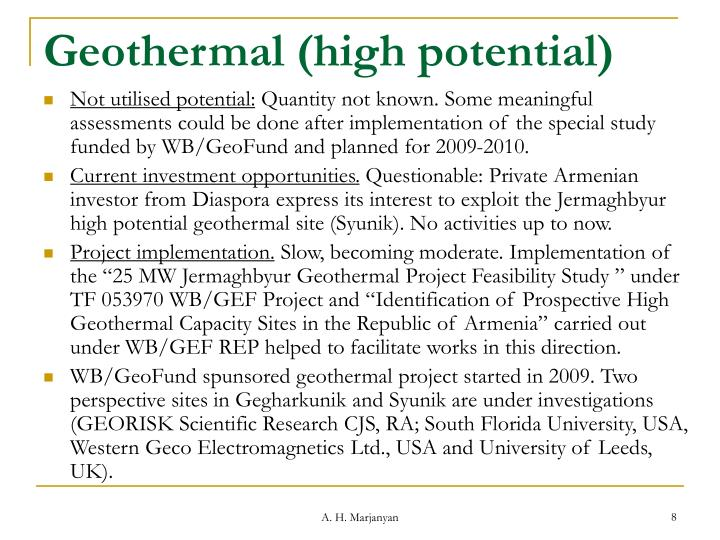 Geothermal (high potential)