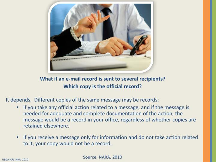 What if an e-mail record is sent to several recipients?