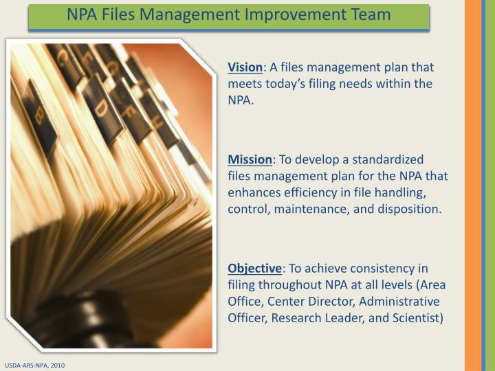 NPA Files Management Improvement Team