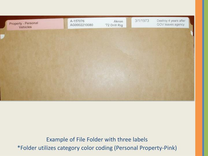 Example of File Folder with three labels