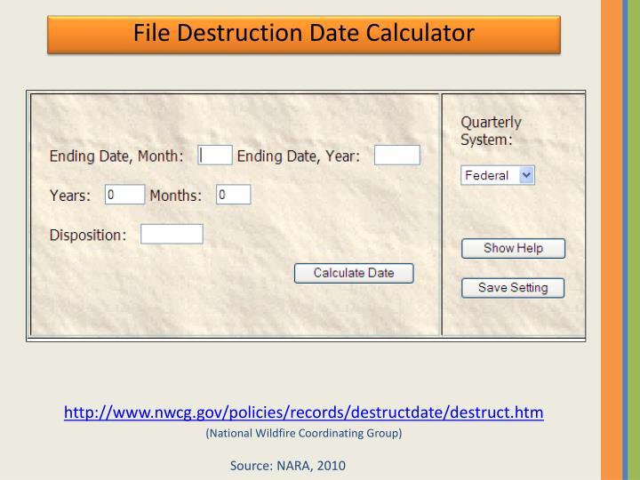 File Destruction Date Calculator
