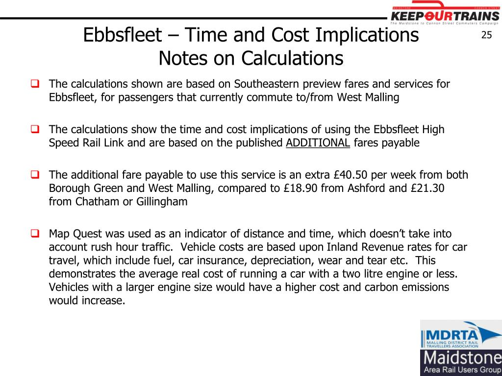 Ebbsfleet – Time and Cost Implications