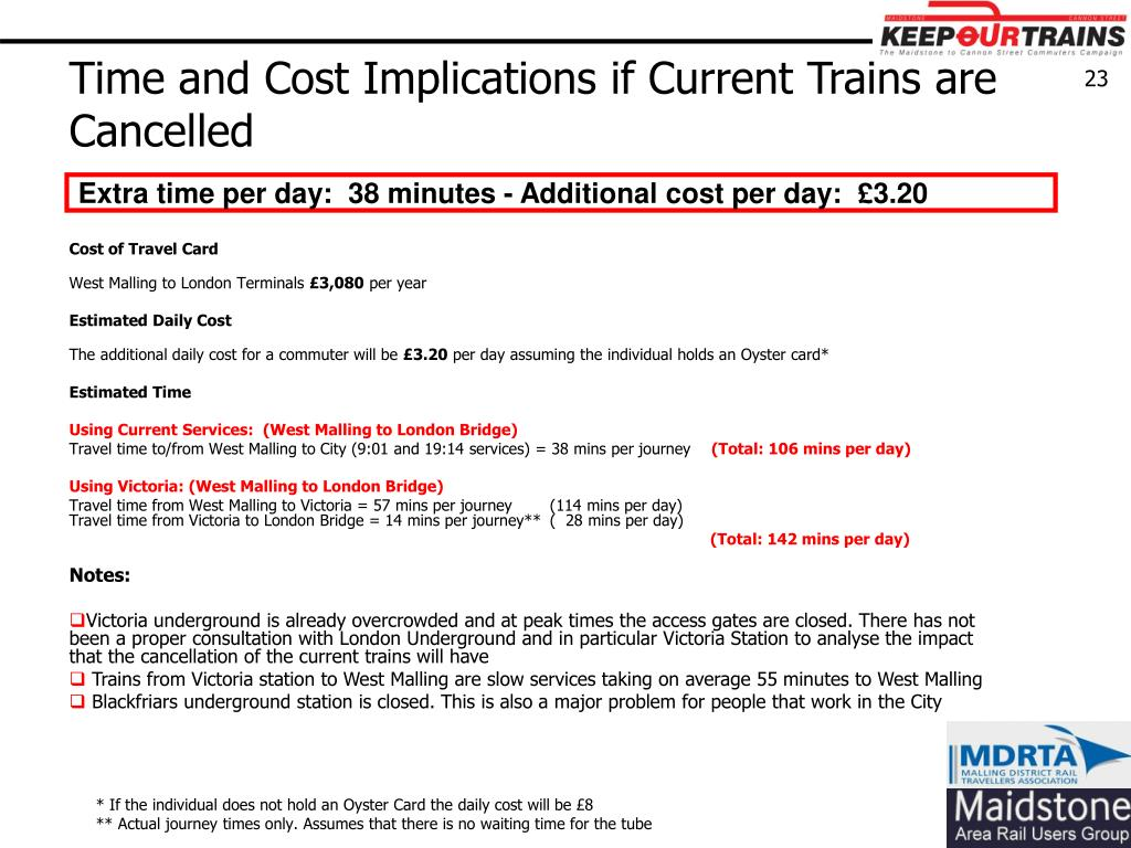 Time and Cost Implications if Current Trains are Cancelled