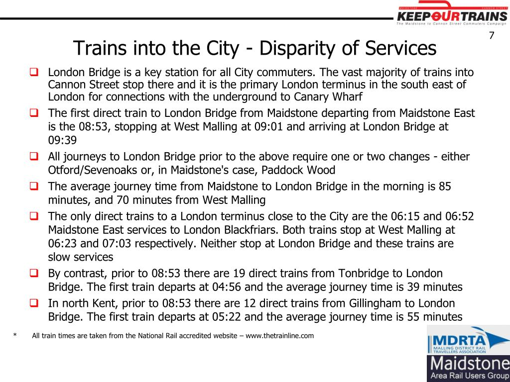 Trains into the City - Disparity of Services