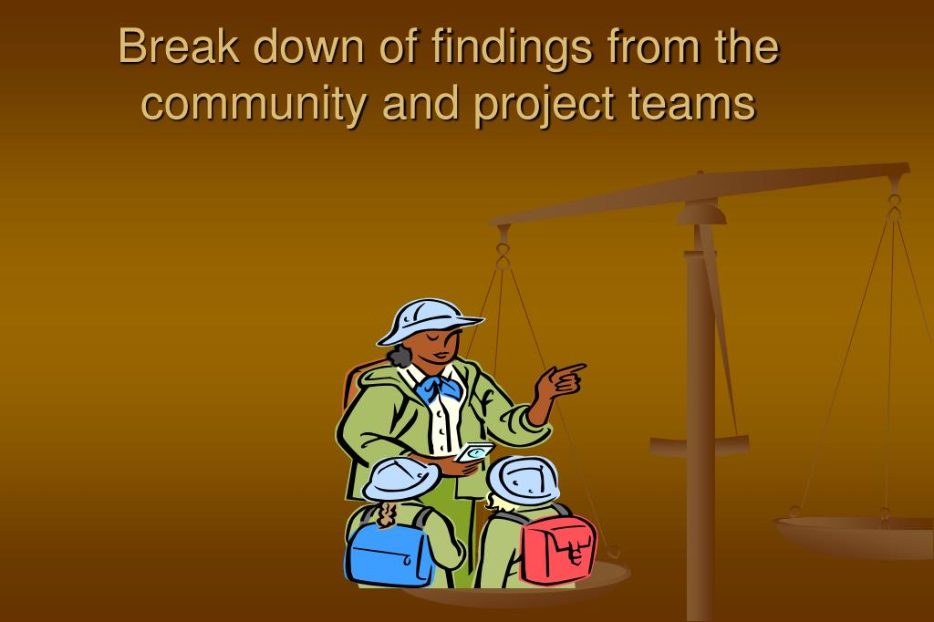Break down of findings from the community and project teams