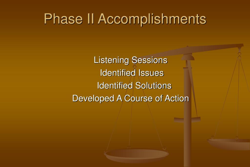 Phase II Accomplishments
