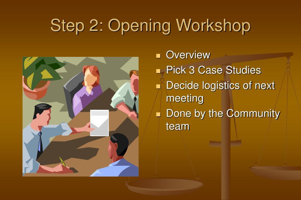 Step 2: Opening Workshop