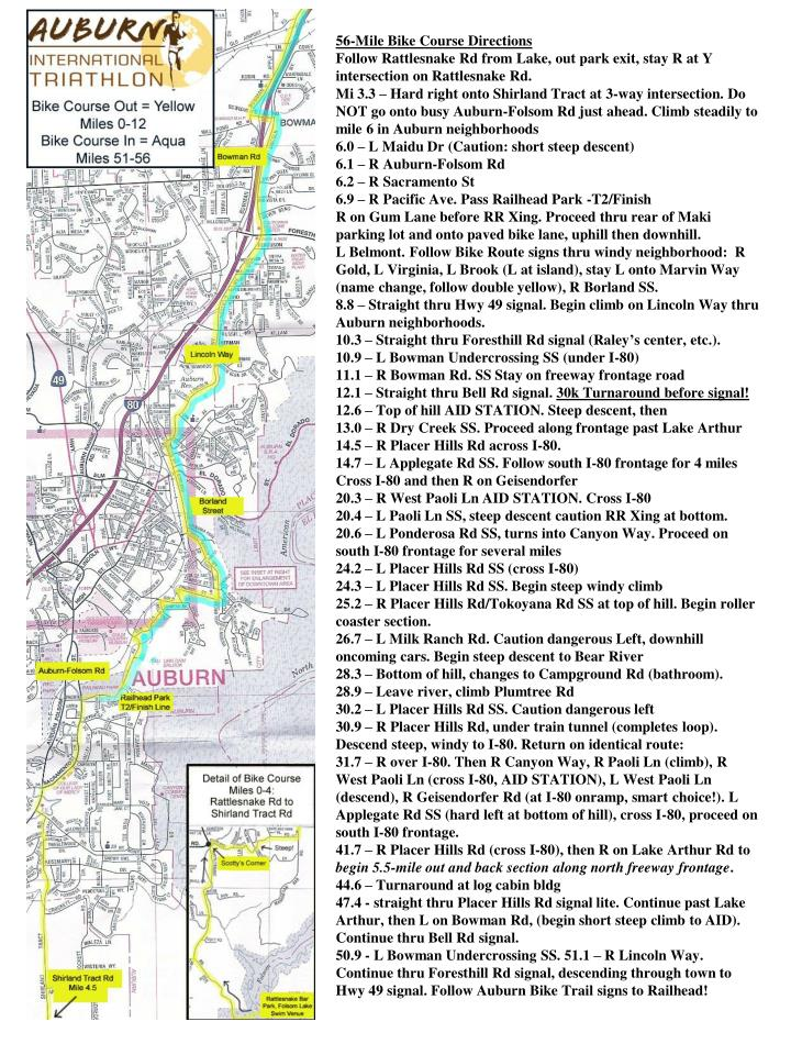 56-Mile Bike Course Directions