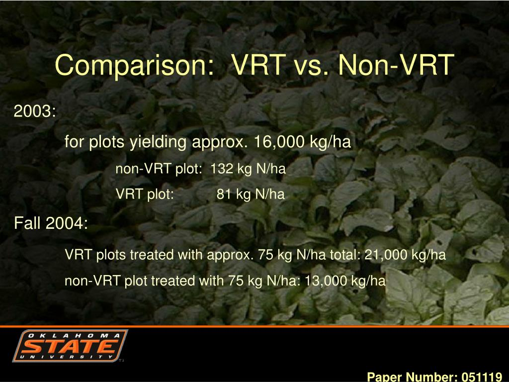 Comparison:  VRT vs. Non-VRT
