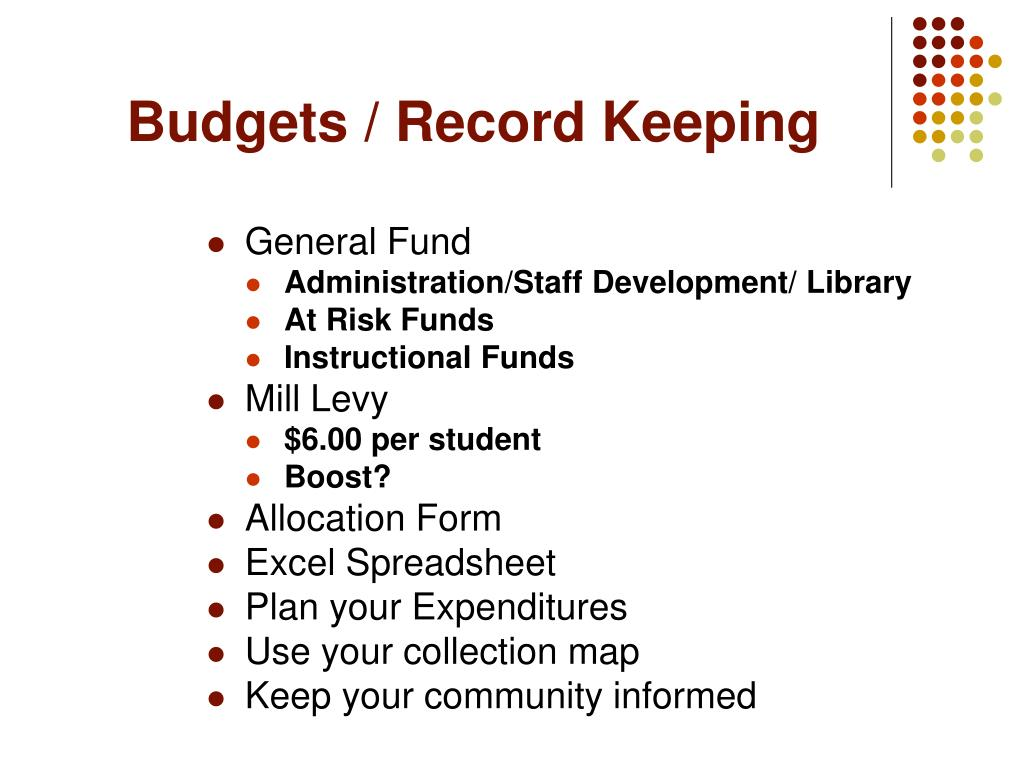 Budgets / Record Keeping