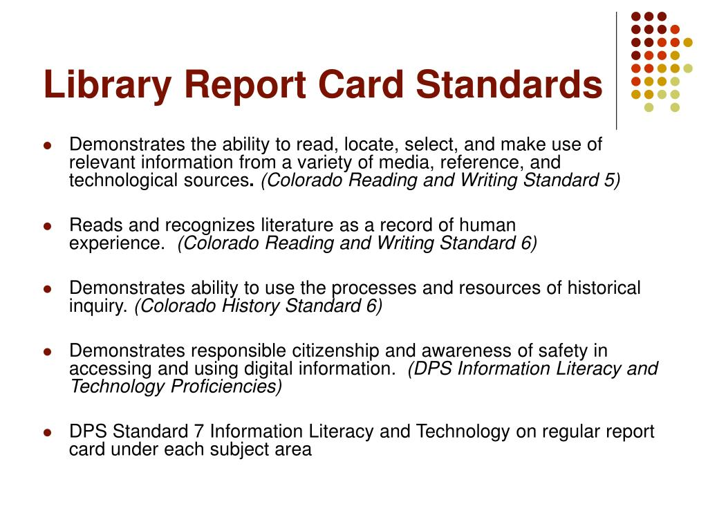 Library Report Card Standards