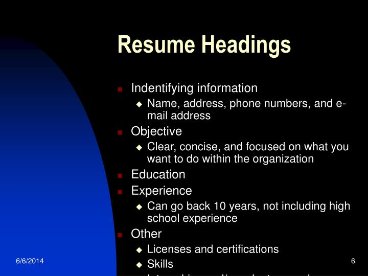 Resume Headings