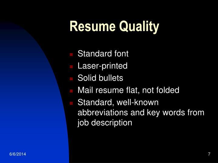 Resume Quality