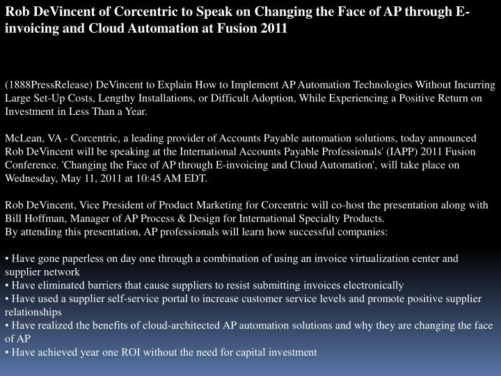 Rob DeVincent of Corcentric to Speak on Changing the Face of AP through E-invoicing and Cloud Automa...