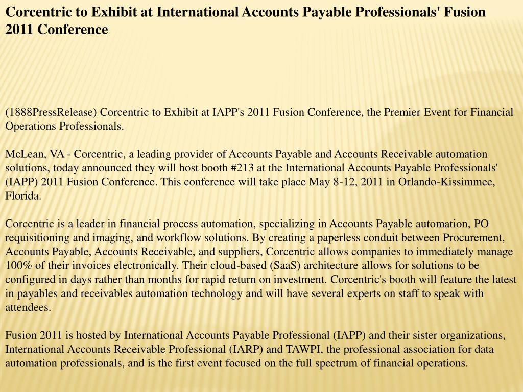 Corcentric to Exhibit at International Accounts Payable Professionals' Fusion 2011 Conference