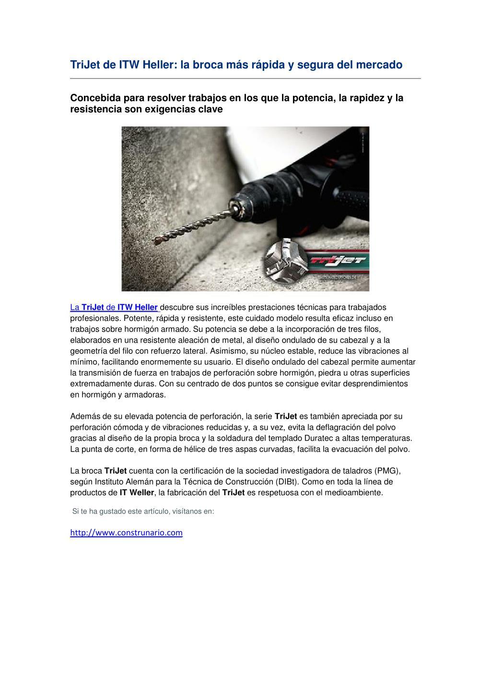 TriJet de ITW Heller: la broca más rápida y segura del mercado