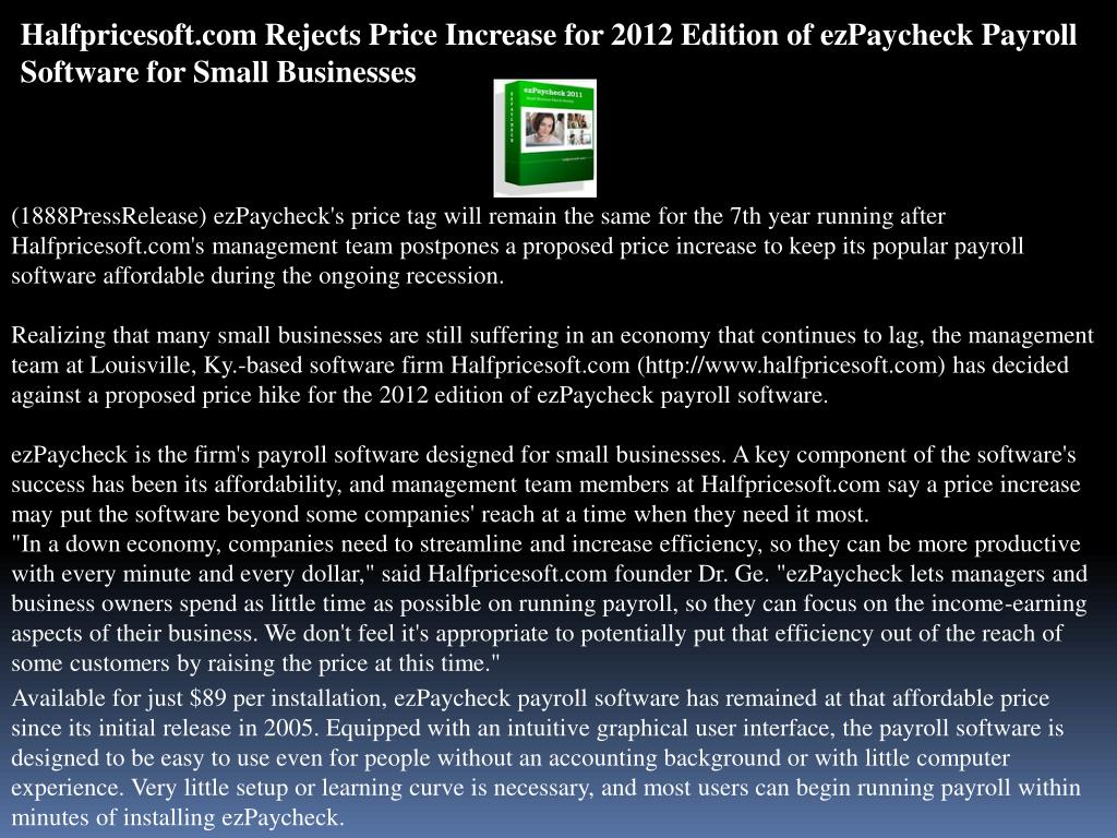Halfpricesoft.com Rejects Price Increase for 2012 Edition of ezPaycheck Payroll Software for Small Businesses