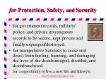 for protection safety and security