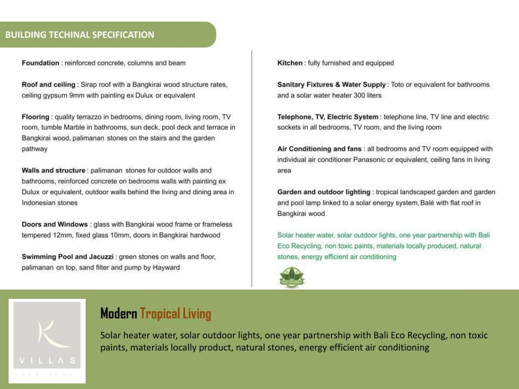 BUILDING TECHINAL SPECIFICATION