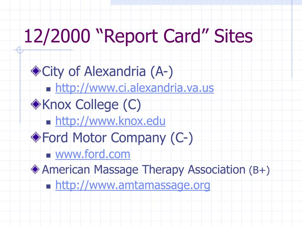 "12/2000 ""Report Card"" Sites"