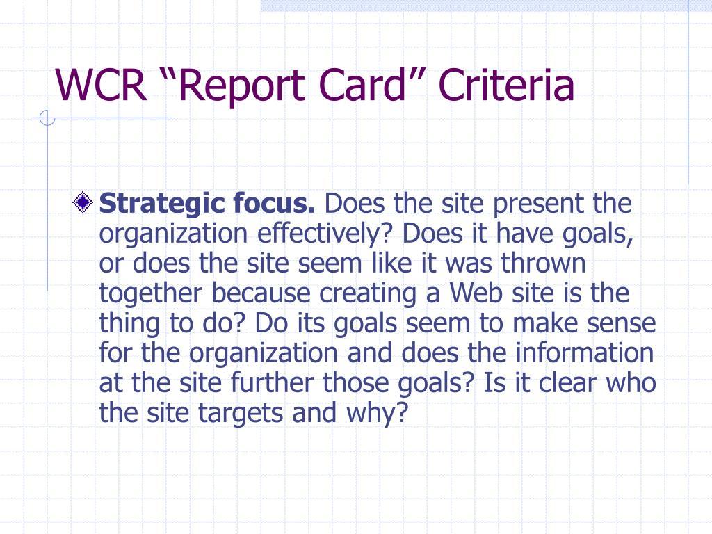 "WCR ""Report Card"" Criteria"