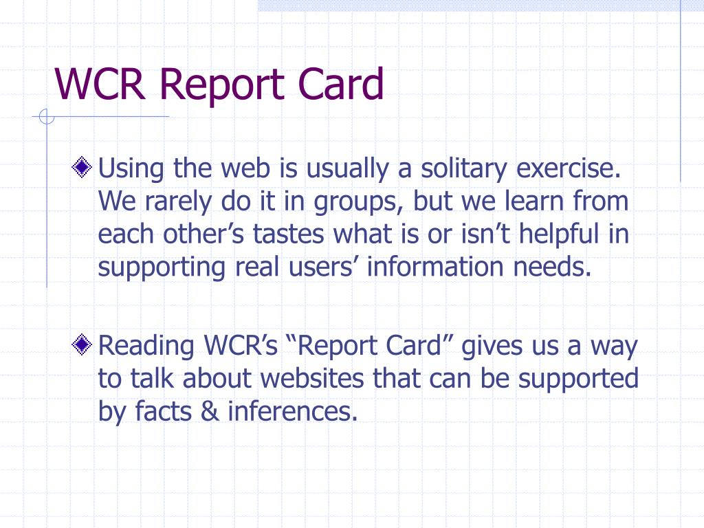 WCR Report Card