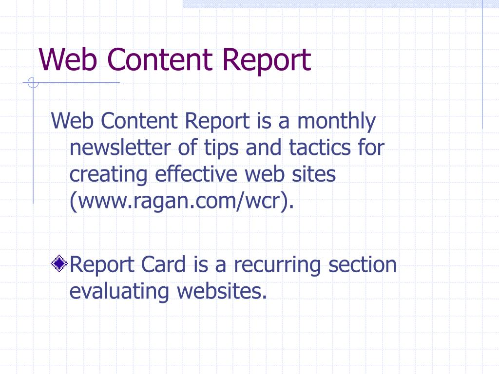 Web Content Report