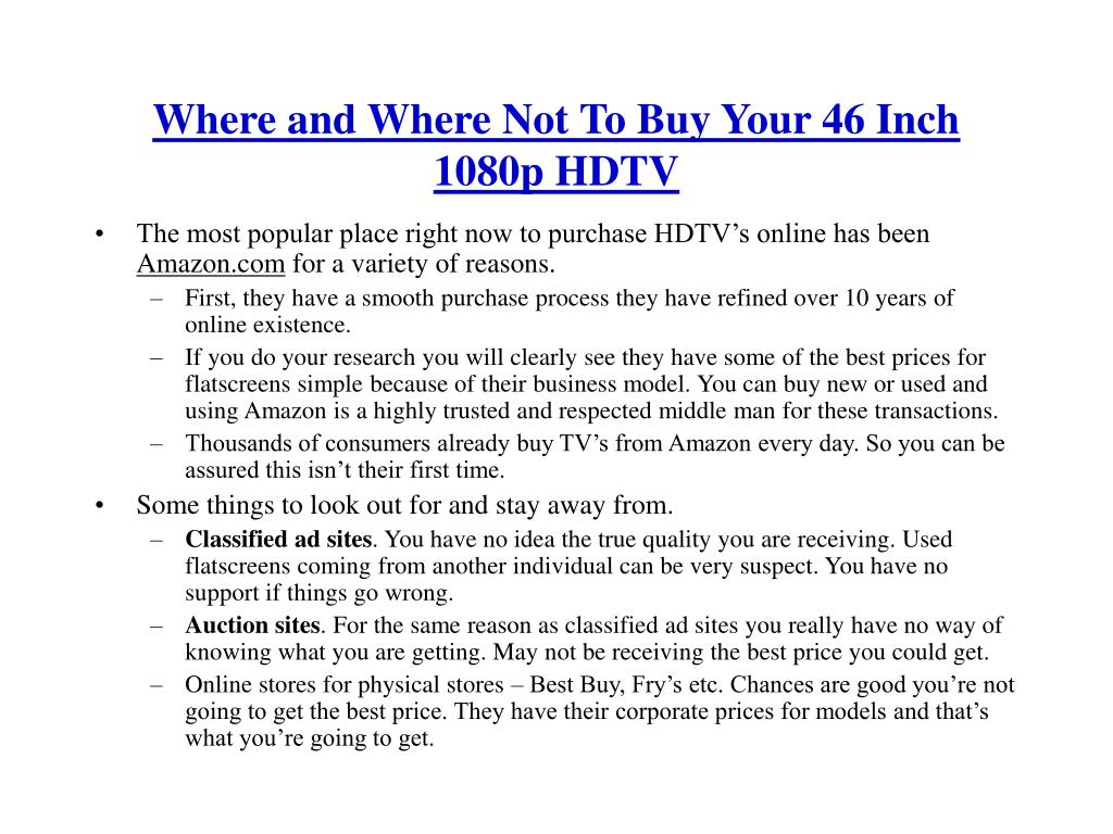 Where and Where Not To Buy Your 46 Inch 1080p HDTV
