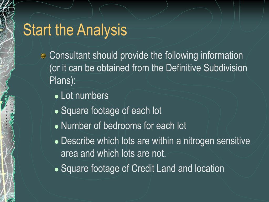 Start the Analysis