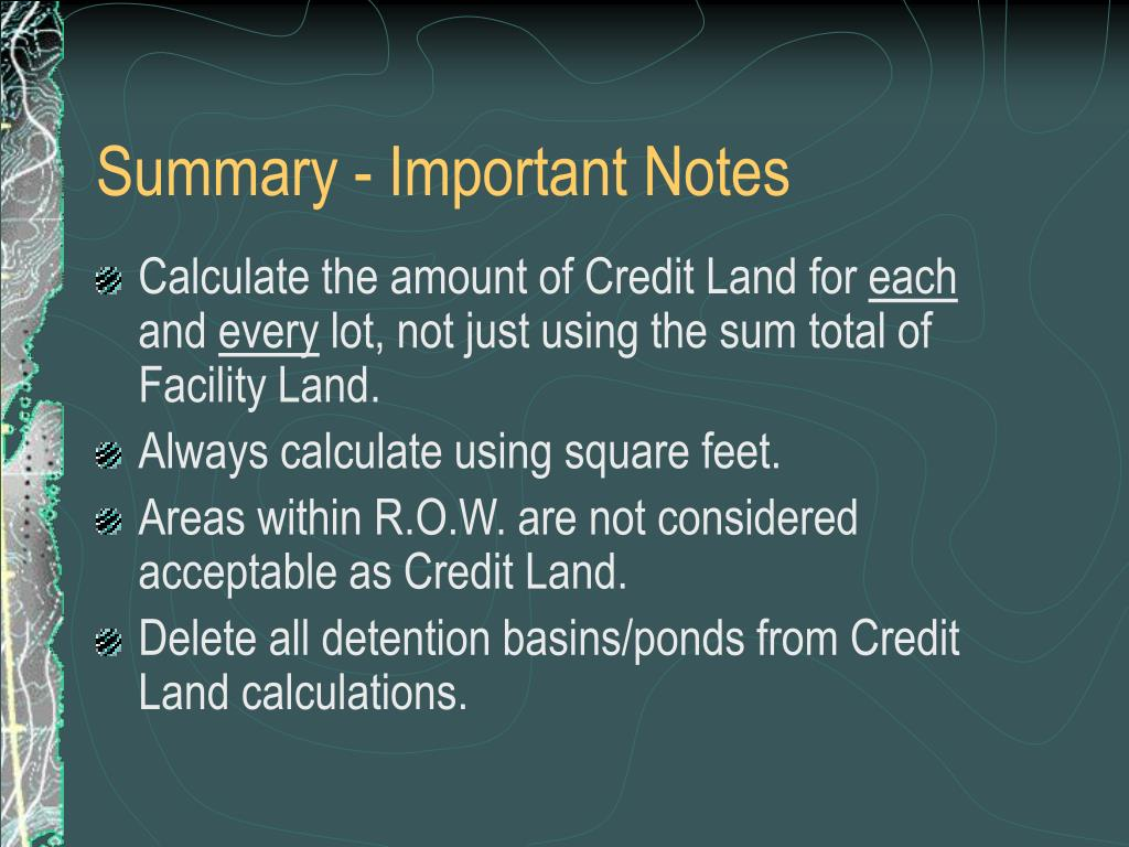 Summary - Important Notes
