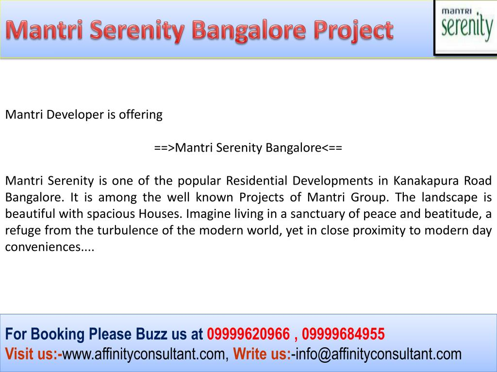 Mantri Serenity Bangalore Project