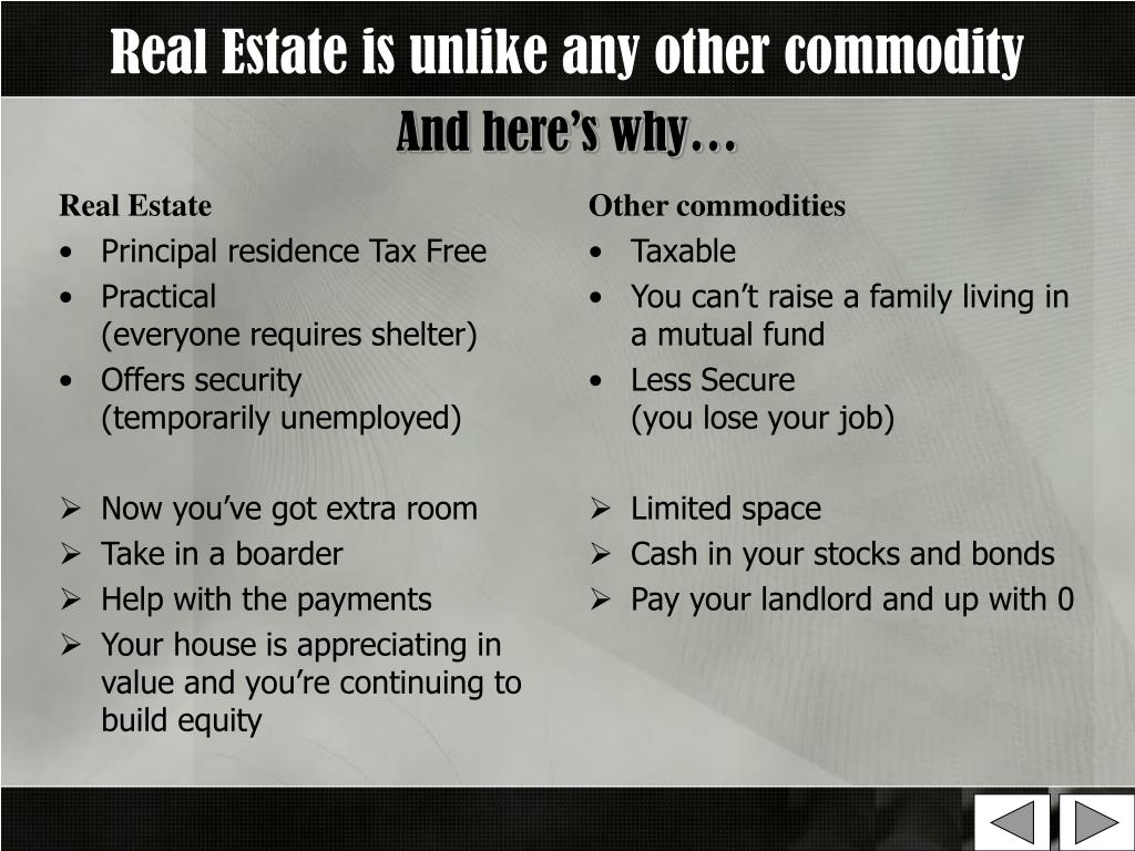 Real Estate is unlike any other commodity