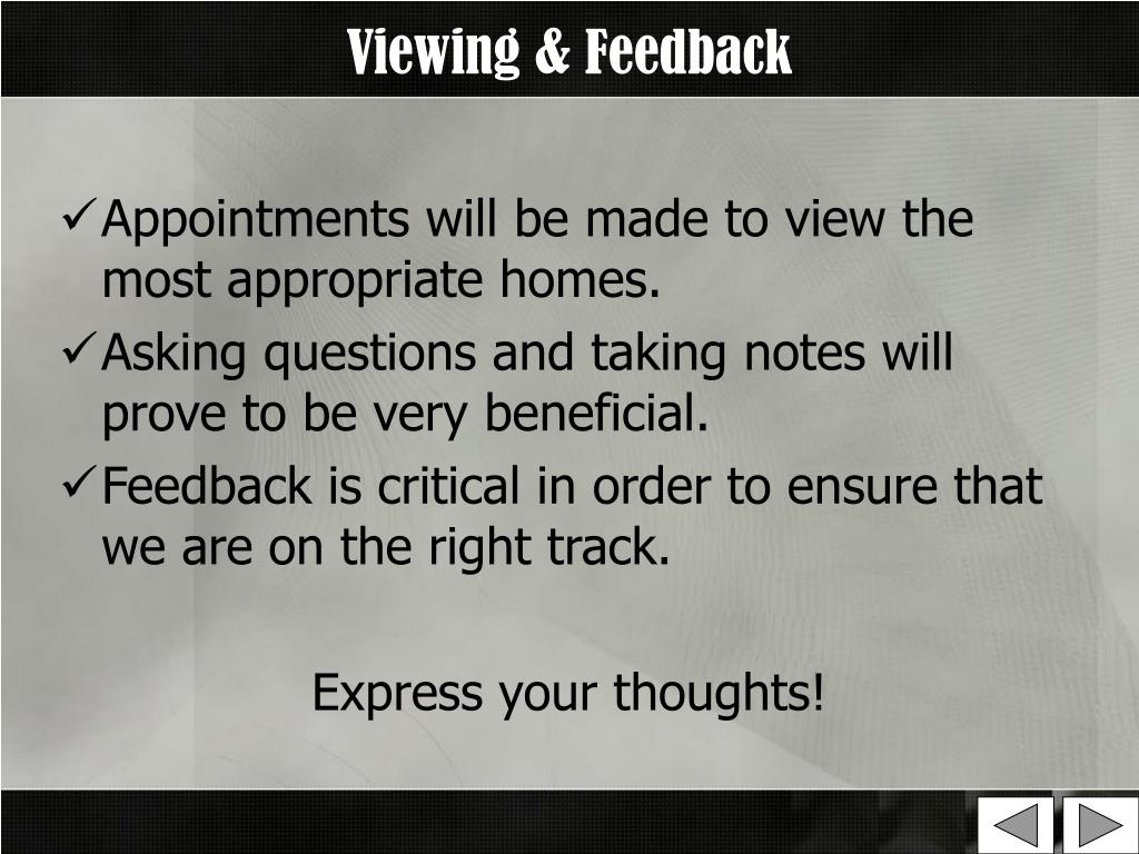 Viewing & Feedback