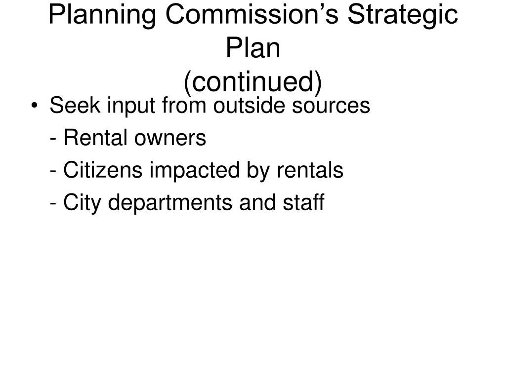 Planning Commission's Strategic Plan