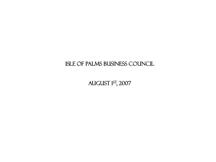 ISLE OF PALMS BUSINESS COUNCIL