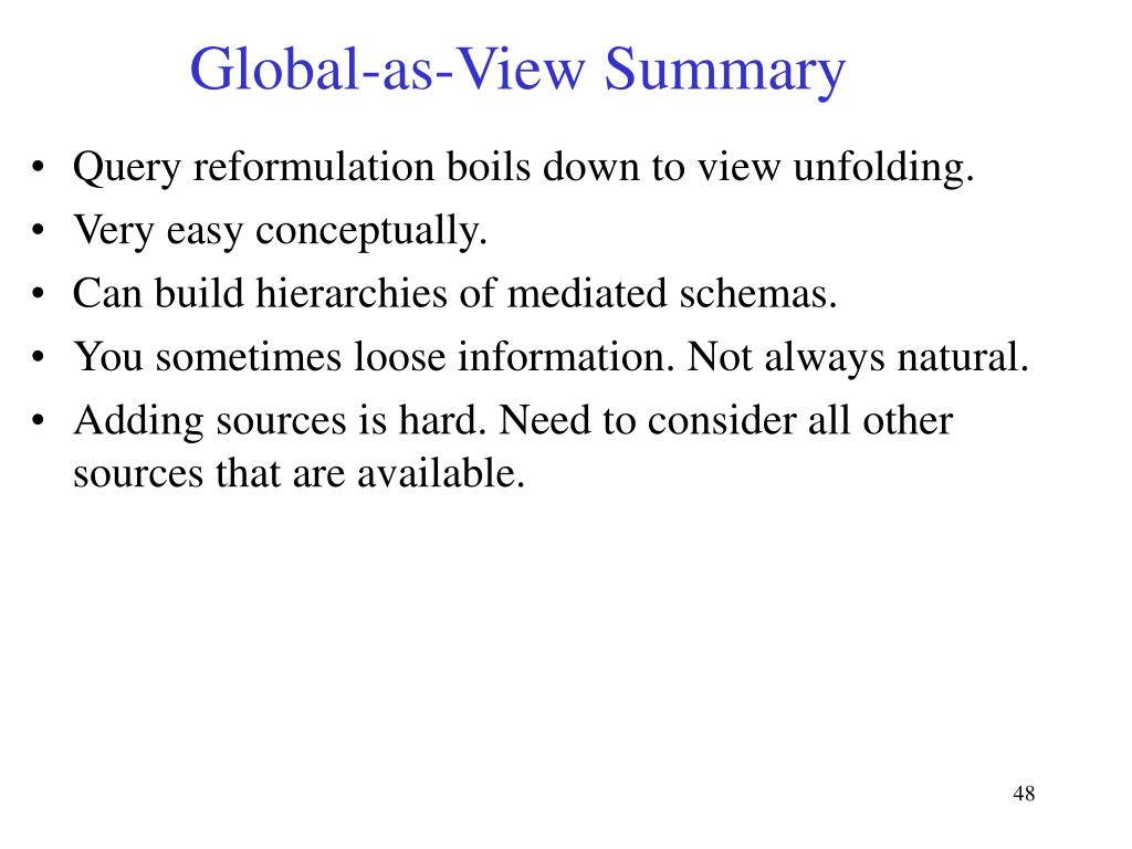 Global-as-View Summary