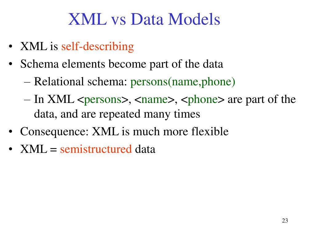 XML vs Data Models
