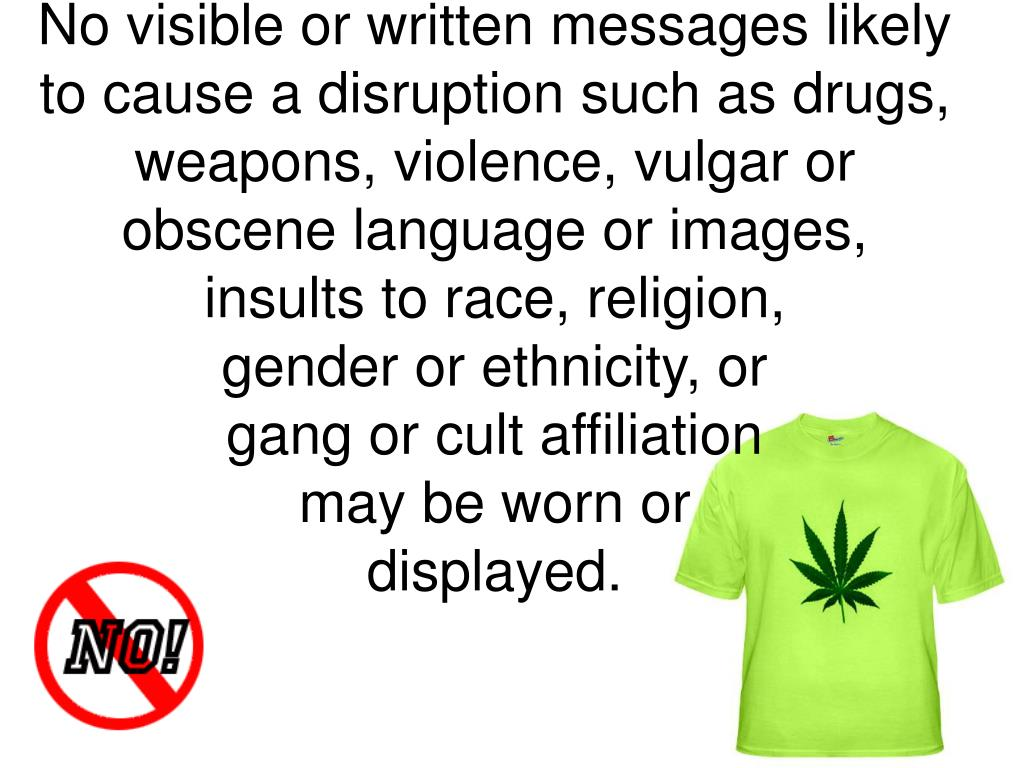 No visible or written messages likely to cause a disruption such as drugs, weapons, violence, vulgar or obscene language or images, insults to race, religion,