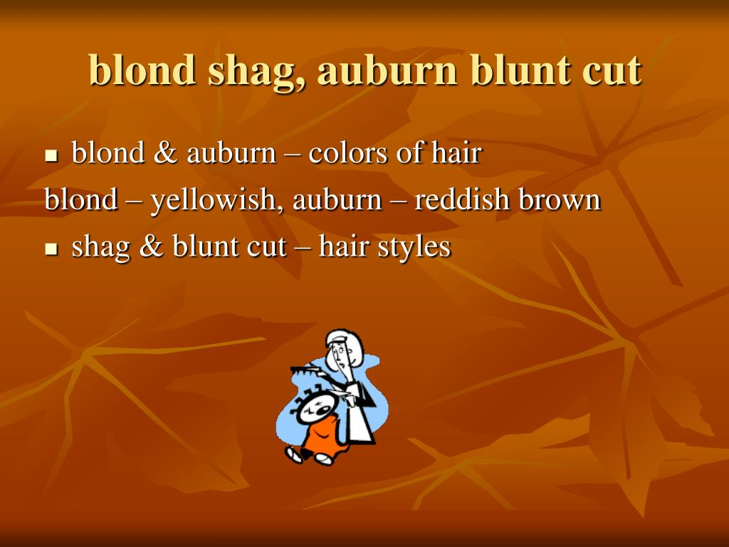 blond shag, auburn blunt cut