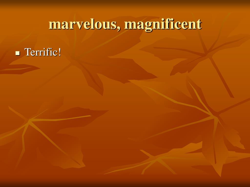 marvelous, magnificent
