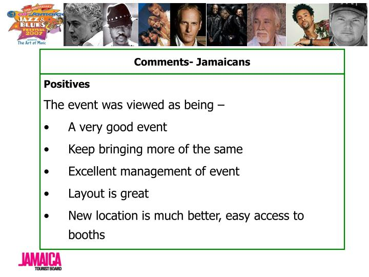Comments- Jamaicans