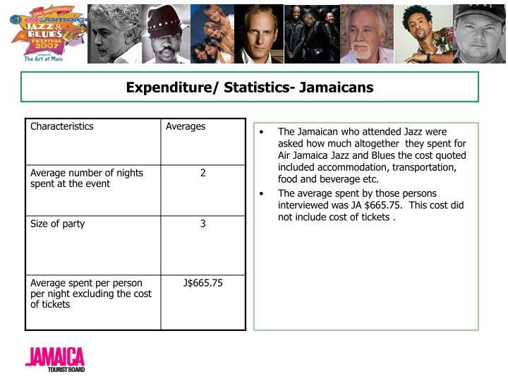 Expenditure/ Statistics- Jamaicans