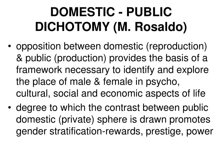DOMESTIC - PUBLIC DICHOTOMY (M. Rosaldo)