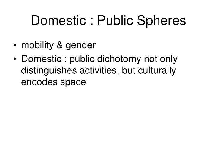Domestic : Public Spheres