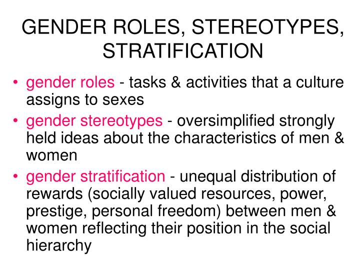GENDER ROLES, STEREOTYPES, STRATIFICATION