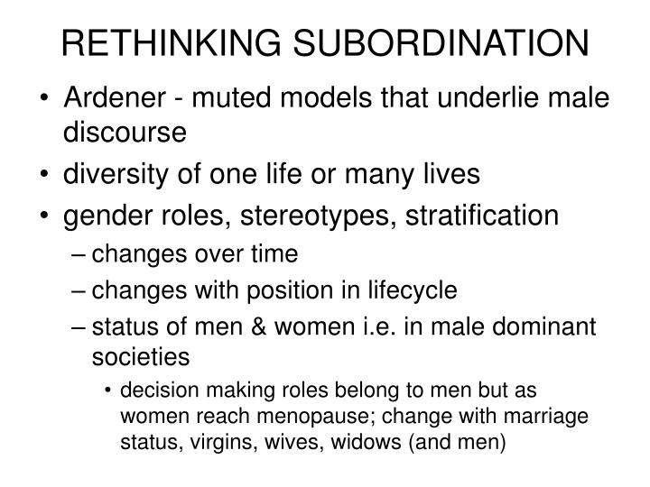 RETHINKING SUBORDINATION