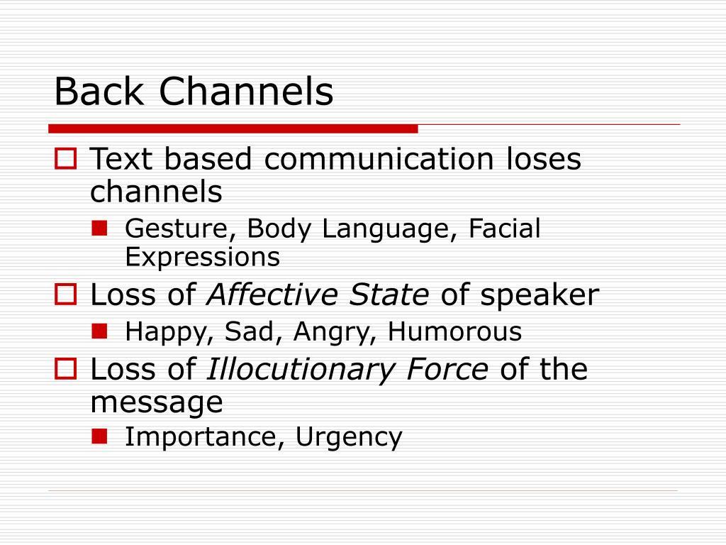 Back Channels