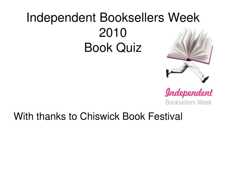 Independent booksellers week 2010 book quiz