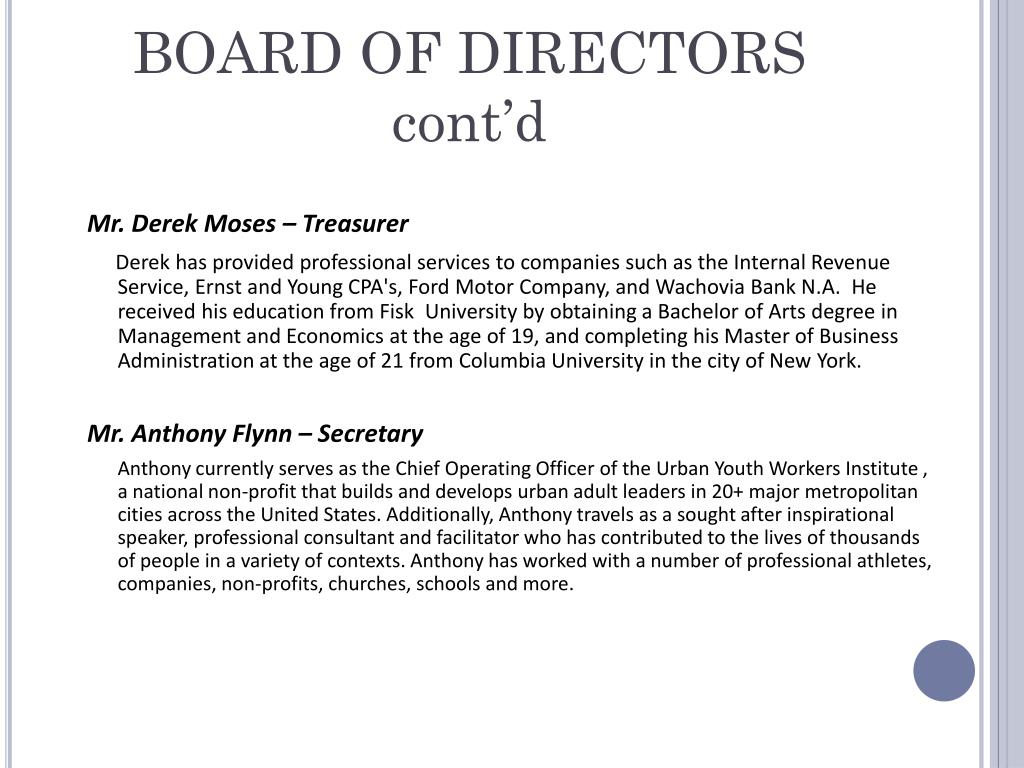 BOARD OF DIRECTORS cont'd
