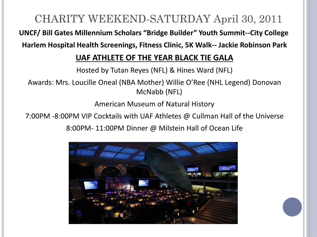 CHARITY WEEKEND-SATURDAY April 30, 2011